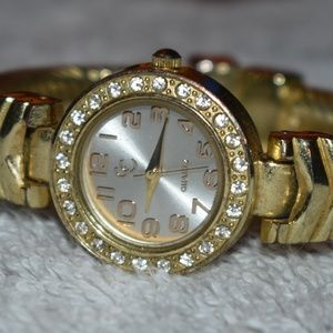 Vintage Charming Charlie GT Bedazzled Cuff Watch